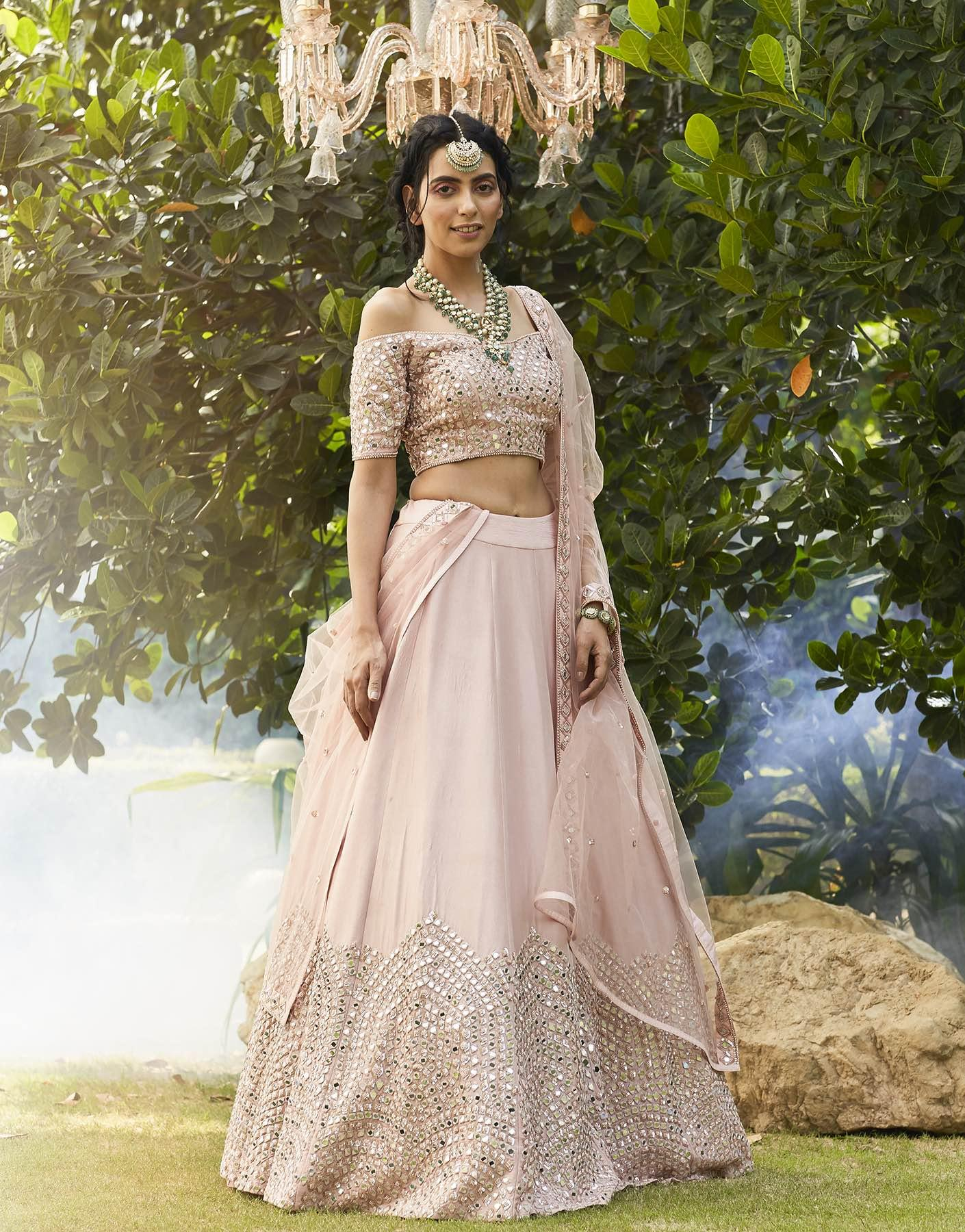 Off Shoulder Mirror Embellished Blouse & Lehenga Set