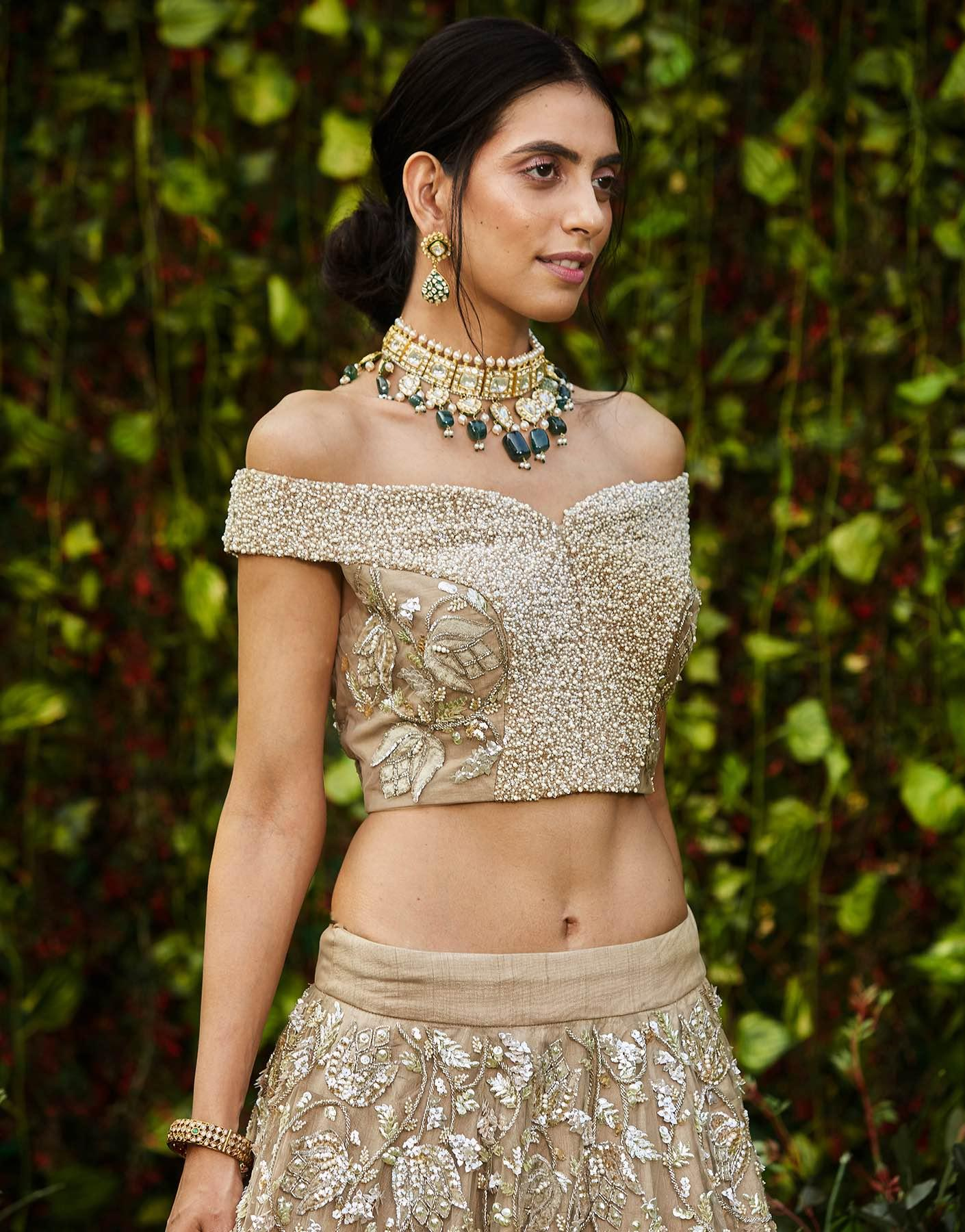 Champagne Lehenga Set With Sequins Work