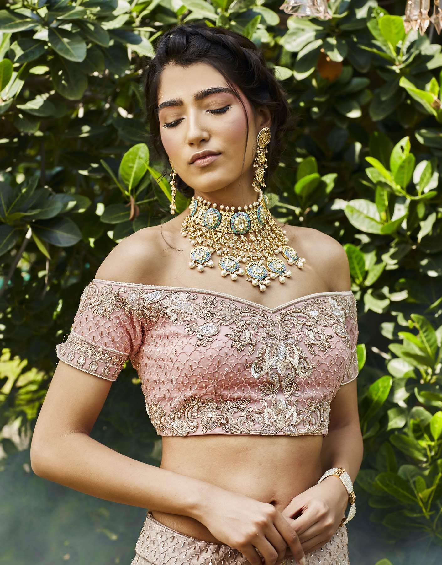 Hand Embroidered Off Shoulder Blouse & Lehenga Set