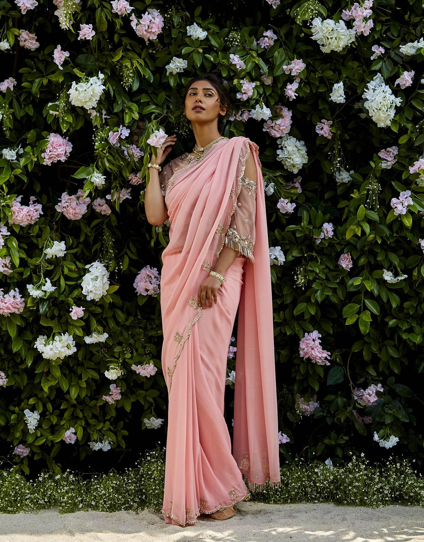 Pink Georgette Saree With Cape