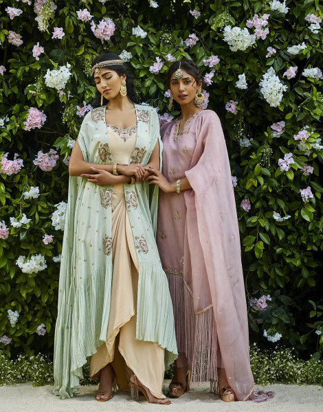 Mint Green Cape with Champagne Dhoti Skirt featuring Dabka and Cutdana work