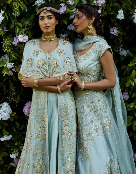 Mint Green Jacket with Lehenga featuring Zardozi work