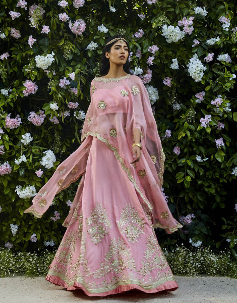 Pink Organza Cape with Lehenga featuring Zardosi work