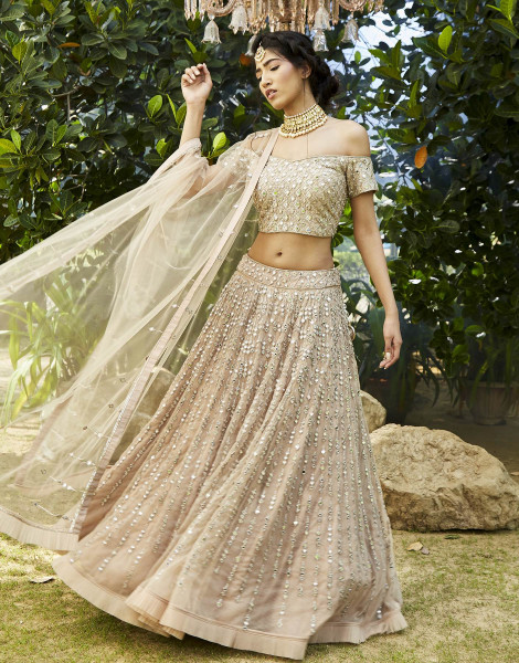Mirror Embellished Lehenga Set